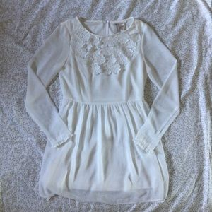 White Long Sleeve Chiffon Dress